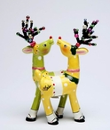 Green and Yellow Print Deer Salt and Pepper Shakers by Babs, Set of 4