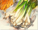 Green Onions Wrapped Canvas Giclee Print Wall Art