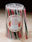 Green Red and White Striped Christmas Taper Candles, Set of 50