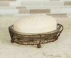 Green Rust Flower Oval Wire Soap Dishes with Glass Insert, Set of 4