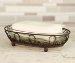 Green Rust Looped Oval Wire Soap Dishes with Glass Insert, Set of 4