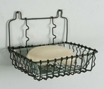 Green Rust Hanging Wire Soap Dishes with Glass Liners, Set of 4
