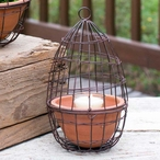 Green Rust Small Hanging Cloche Planter with Terra Cotta Pot