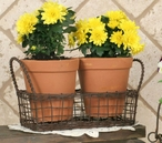 Green Rust Small Wire Basket with Two Terra Cotta Pots