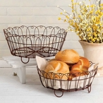 Green Rust Wire Round Bread Baskets, Set of 2