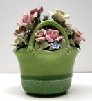 Green Springtime Flower Basket Musical Music Box Sculpture