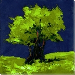 Green Tree on Blue Wrapped Canvas Giclee Print Wall Art