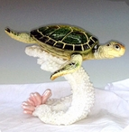Green Turtle on Coral Statue