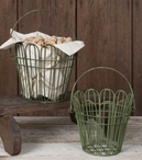 Green Wire Metal Baskets, Set of 2