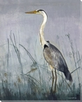 Grey Heron Bird Wrapped Canvas Giclee Print Wall Art