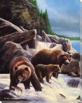 Grizzlies by the Falls Wrapped Canvas Giclee Print Wall Art