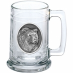 Grizzly Bear Glass Beer Mug with Pewter Accent