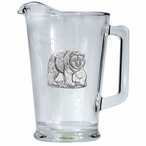 Grizzly Bear Glass Pitcher with Pewter Accent