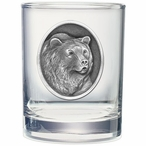 Grizzly Bear Pewter Accent Double Old Fashion Glasses, Set of 2