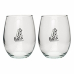 Grizzly Bear Pewter Accent Stemless Wine Glass Goblets, Set of 2