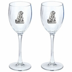Grizzly Bear Pewter Accent Wine Glass Goblets, Set of 2