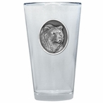 Grizzly Bear Pint Beer Glasses with Pewter Accent, Set of 2