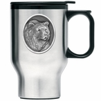 Grizzly Bear Stainless Steel Travel Mug with Handle and Pewter Accent