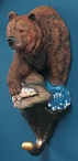 Grizzly Bear w/ Fish Hand Painted Sculpted Single Wall Hooks, Set of 3