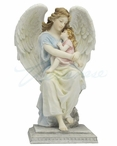 Guardian Angel Sitting and Holding a Little Girl Sculpture