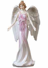 Guardian Angel with Open Arms in Pink Dress Porcelain Sculpture
