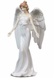 Guardian Angel with Open Arms in White Dress Porcelain Sculpture