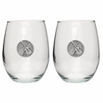Guitars Pewter Accent Stemless Wine Glass Goblets, Set of 2