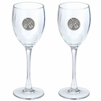 Guitars Pewter Accent Wine Glass Goblets, Set of 2