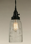 Half Gallon Clear Glass Open Bottom Mason Jar Pendant Lamp Light