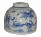 Half Moon Blue and White Porcelain Tea Jar