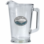 Halibut Fish Blue Glass Pitcher with Pewter Accent