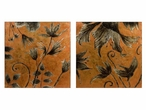 Hansen Floral Motif Hand Painted Oils on Canvas Paintings, Set of 2