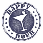 Happy Hour Cocktail Stamp Absorbent Round Beverage Coasters, Set of 8