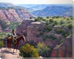 Hard to Get to Cowboy on Horseback Wrapped Canvas Giclee Print