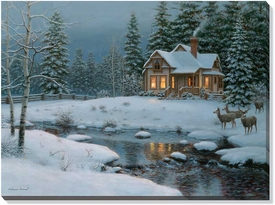 Winter Wall Art harden's hideaway winter scene wrapped canvas giclee print wall