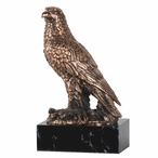 Hawk on Tree Statue - Copper Finish