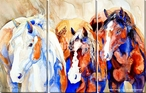 Hay Watch Horses Wrapped Canvas Giclee Print Wall Art, Set of 3
