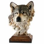 Head of the Pack Wolf Hand Painted Sculpture