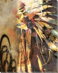 Headdress Native American Wrapped Canvas Giclee Print Wall Art