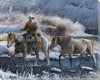 Heading Home Cowboy and Horses Wrapped Canvas Giclee Print