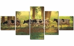 Heading Home Cows Wrapped Canvas Giclee Print Wall Art, Set of 5