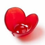 Heart Red Color Crystal Bowl by Mats Jonasson
