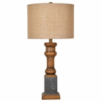Heirloom Resin and Metal Table Lamp with Burlap Shade