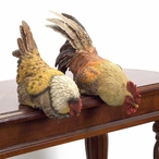 Hen and Rooster Shelf Sitter Sculptures, Set of 2