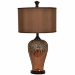 Hera Ceramic and Metal Table Lamp with Chocolate Silk Shade