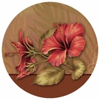Hibiscus Flowers Round Beverage Coasters by Rebecca Baer, Set of 12