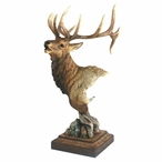 High Point Elk Hand Painted Sculpture