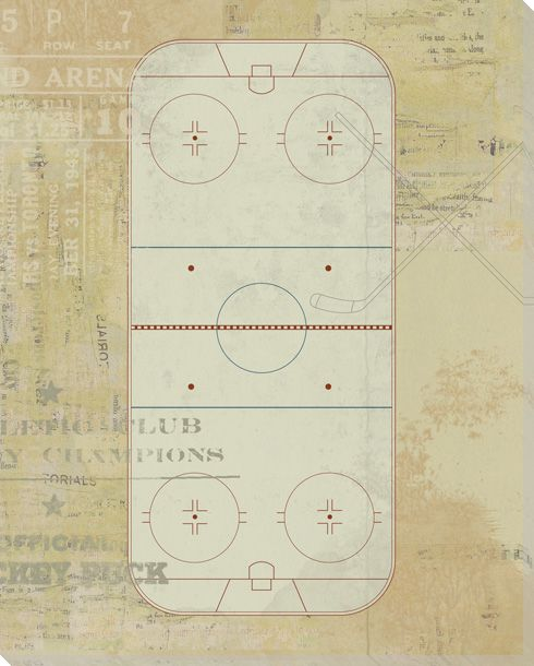 Hockey Rink Diagram Wrapped Canvas Giclee Print Wall Art Wall
