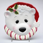Holiday Polar Bear Porcelain Plates by Laurie Furnell, Set of 4