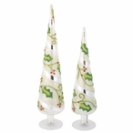 Holly Leaf Glass Table Finials, Set of 2